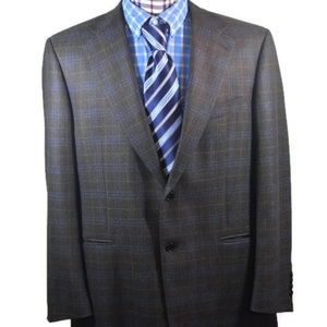 Faconnable Blue Brown Check Italy Sport Coat 46R